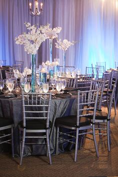 Gray & White Wedding, White Orchid Centerpieces