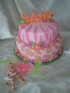 Girls Safari Cake. Safari Baby Shower ...