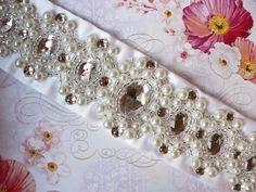 Usłana Różami - pasy do sukni ślubnej, aplikacje do sukni ślubnej, biżuteria ślubna i wieczorowa: Mam'selle wedding jewellery, beads embroidery, bride, wedding belt, silver, veil, wedding dress applique, wedding sash