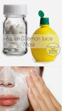 Aspirin & Lemon Juice Face Mask 1. Mash up 6-12 non-coated aspirins and combine with freshly squeeze lemon juice. 2. Let the aspirin dissolve until it turns into a paste. 3. Apply the mask to your skin and leave it on for 10 minutes. 4. Remove the face mask by dipping a cotton round in some baking soda and some water.