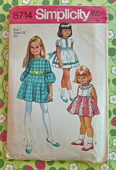 Simplicity 8714  1970s Girls Empire Waist Dress by Fragolina, $5.00
