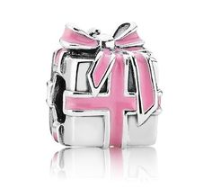Pandora Silver Pink Ribbon Present Charm 791132EN24 at John Greed Jewellery - For her 1st birthday? Maybe something without enamel?