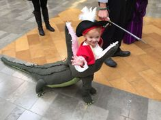 Captain Hook eaten by a Crocodile costume Fete Halloween, Family Halloween, Halloween Costumes For Kids, Captain Hook Halloween Costume, Halloween Stuff, Vintage Halloween, Halloween Makeup, Baby Costumes For Boys, Boy Costumes