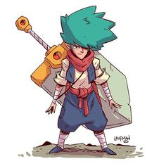 Day 07 - #dailydraw more work on my blue haired giant sword swinging dude…