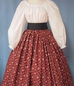 Burgundy Floral Print - Civil War Reenactment - Pioneer Costume - Victorian Tea - Long SKIRT in Burgundy w/ Ivory Rose flowers. $38.00, via Etsy.