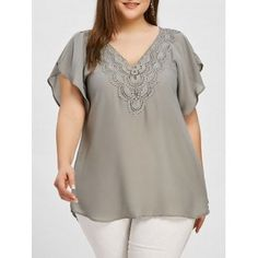 """color is """"blah"""" but I like the cut/flow Plus Size Crochet Sheer Blouse Plus Size Skirts, Plus Size Blouses, Plus Size Tops, Plus Size Outfits, Trendy Outfits, Plus Size Womens Clothing, Size Clothing, Clothes For Women, Kayak Clothing"""
