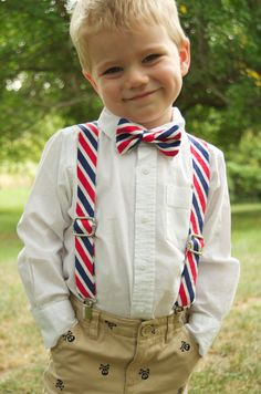 Pink and Navy wedding - Hot Pink and Navy Stripe Suspender & Bow Tie Set   Baby by DapperGent, $37.00