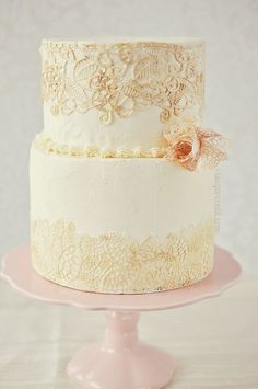 Orange Chocolate Mousse Cake with orange flavoured swiss meringue buttercream and sugar lace.