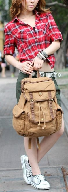 Canvas Rucksack Backpack for School & Outdoor #canvasbackpack #canvasleatherbag #backtoschool