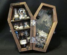 Mrs. Hamishs Strange Collection - Miniature Coffin Shadow Box. $49.00, via Etsy.