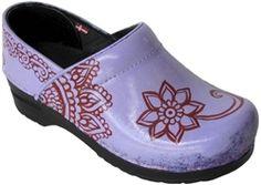 "Hand painted Sanita women's clogs - ""Lilac Henna"" design"