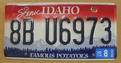 "1998 Idaho License Plate "" Famous Potatoes ""  -  8BU6973"