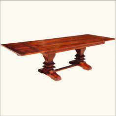 Solid Wood Large Trestle Pedestal Dining Table with Extension Rectangle Dining Table, Trestle Dining Tables, Pedestal Dining Table, Solid Wood Dining Table, Extendable Dining Table, Dining Room Table, Modern Rustic Furniture, Hardwood Table, Dining Room Inspiration