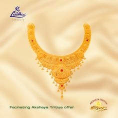 Make this Akshaya Tritiya more memorable by gifting this latest collection of necklace from Indian Gold Necklace Designs, Gold Ring Designs, Gold Jewellery Design, Silver Jewellery, Jewelery, Gold Choker Necklace, Gold Necklaces, Earrings, Gold Money