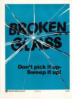Vintage National Safety Poster - Broken Glass