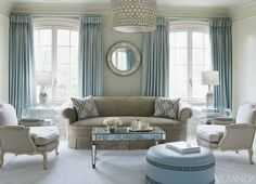 Light blues and grays in this beautiful living room!