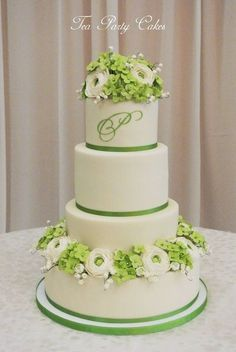 Green and white sugar flowers