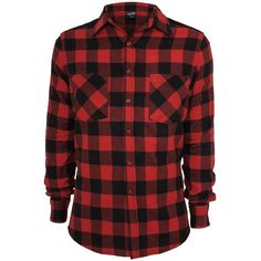 Urban Classics Cord Patched Checked Flanell Shirt Hemd schwarz-rot featuring polyvore, fashion, clothing, tops, red shirt, checkered top, cord shirt, red top and checked shirt