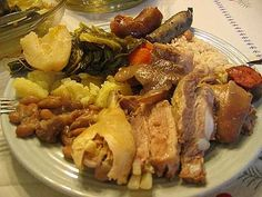 """Portuguese Pork dish """"Cozido à Portuguesa"""" Very traditional made with boiled veg potatoes, carrots, kale, cabbage and some chirizo"""