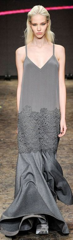 gray dress @roressclothes closet ideas women fashion outfit clothing style DKNY RTW F/W 2014-2015 LBV: