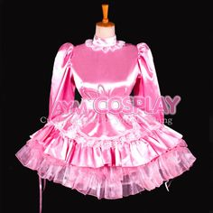 special offer Sissy maid pink satin dress lockable  costume Tailor-made [G794] #noname