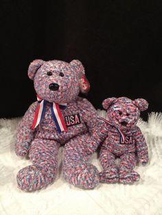 Ty USA Bear LOT~ SOFT W/ FLAG ~W/  Beanie Baby & Buddy/ Buddies~MWMT'S ~RETIRED #TyBeanieBabyBuddy