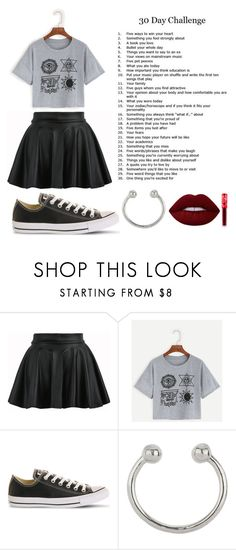 """//30 day challenge// day 1. Five ways to steal my heart"" by sleepingwithsirens15 ❤ liked on Polyvore featuring Converse, Miss Selfridge and Lime Crime"