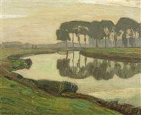 Lys river landscape by Léon de Smet