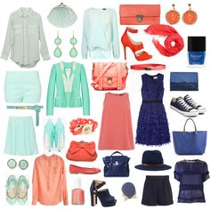 mint, coral, navy- Not only is this a great color inspiration board for my wedding colors, but for my wardrobe!