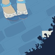 Editorial illustration by Vibeke Høie, #magazine #illustration #vibekehoie #shoes #drawing #blue