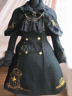 ロリータコート,ブラック クラシック&トラディション ポリエステル ウール ロリータファッション  - Milanoo.jp