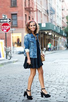 LBD, denim jacket, platforms.