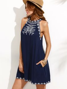 Shop Embroidered Cutout Tie Back Halter Swing Dress online. SheIn offers Embroidered Cutout Tie Back Halter Swing Dress & more to fit your fashionable needs. Sexy Dresses, Short Sleeve Dresses, Summer Dresses, Sleeveless Dresses, Beach Dresses, Long Sleeve, Plus Size Fashion Dresses, Cutout Dress, Mode Style