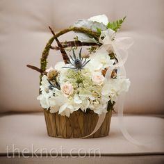 A rustic moss & white blooms flower girl basket // photo by: Woodland Fields Photography // Flowers: Missy Gunnels Flowers