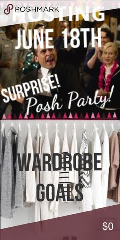 HOSTING POSH PARTY ~ LIKE AND SHARE  Surprise!!! Excited to be co-hosting my first Posh Party this Saturday night, June 18th 2016! The theme will be wardrobe goals! Feel free to tag awesome closets in the comments, but if you want me to consider your closet please LIKE and SHARE this listing, and I'll take a peek in your closet.  Get ready to party this Saturday night!  Zara Other