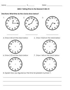 MD.1 Telling and writing time to the nearest minute and 5 minute with explaining their thinking. They are on separate pages for the different minutes.