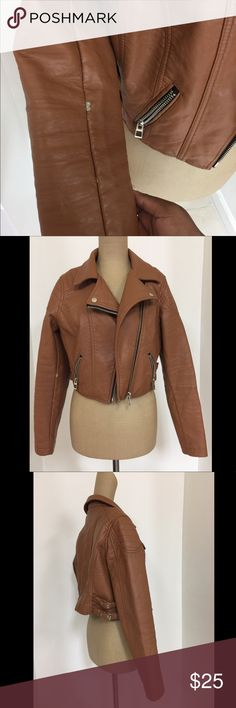 Charlotte Russe brown leather biker jacket Charlotte Russe brown leather biker jacket (((((Women's size L))))) Jacket has slight wear-n-tear on the seams of both arm areas of the jacket which is not noticeable when worn. Aside that the jacket is in great condition! Charlotte Russe Jackets & Coats