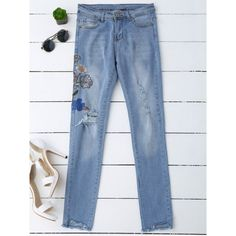 Ripped Floral Embroidered Sequins Jeans Denim Blue ($27) ❤ liked on Polyvore featuring jeans, destruction jeans, destroyed jeans, distressing jeans, ripped denim jeans and ripped blue jeans