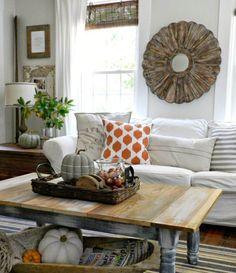 salon rustique et déco d'intérieur de maison pour automne