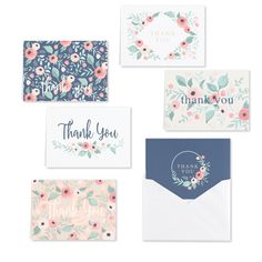 Blush Floral Thank You Note Card Assortment - set of Size: Multi-color Thank You Note Cards, All Holidays, Luxury Gifts, White Envelopes, Eyeshadow Makeup, Mens Gift Sets, Baby Clothes Shops, Mother Day Gifts, Blush