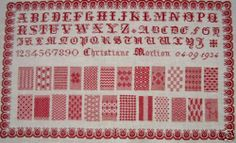 Vintage French Redwork Sampler Christiane Morlion 1934