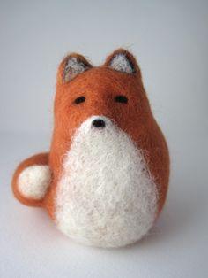 Red fox needle felted wool sculpture, by BirdonWireStudio, from Etsy.