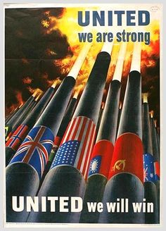 American W!II Poster depicting the allied powers all fighting together. Shows diversification in the Allied forces in using their weapons to fight.