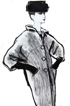 A Givenchy hat of 1960 and Balenciaga's reglan coat of 1961, by Tod Draz