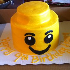Lego mans head birthday cake