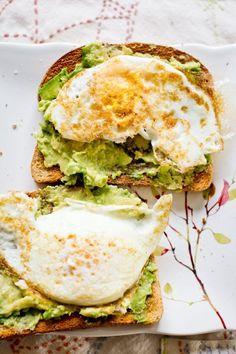 A healthy go-to breakfast: Avocado toast with eggs.