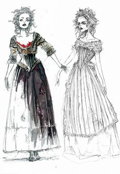 Sweeney Todd Costume Sketch, Mrs. Lovett by Colleen Atwood