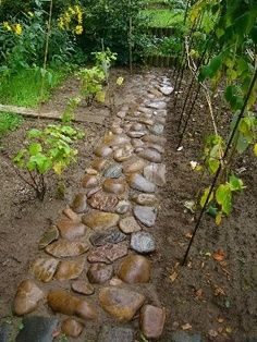 Mosaic Walkways Outdoors | Work a bag of dry concrete mix into the soil where stone is to sit ...