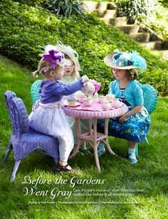 Don't these young ladies look so fancy at their tea party?