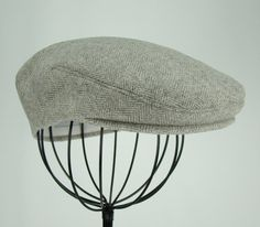 Men s Hat - Grey Wool Tweed Herringbone Golf Cap 2456f38957b6